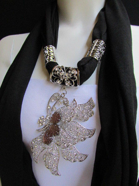 Pink Blue Black Brown Bright Coral Soft Fabric Scarf Long Necklace Big Silver Butterfly Pendant New Women Fashion - alwaystyle4you - 33