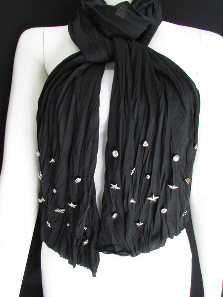 New Women Soft Fabric Fashion White / Blue /  Gray / Black Scarf Long Necklace Silver Metal Stars Studs - alwaystyle4you - 44