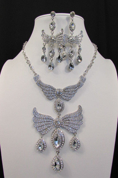 Metal Flying Wings Gold Silver Rhinestones Necklace + Earrings set New Women Fashion - alwaystyle4you - 37