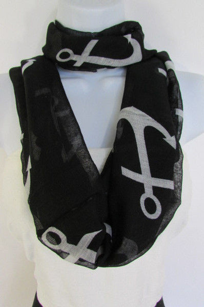 Green Aqua Pink Black White New Women Fashion Fabric Infinity Loop Scarf Big Anchor - alwaystyle4you - 36