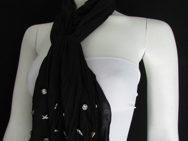 New Women Soft Fabric Fashion White / Blue /  Gray / Black Scarf Long Necklace Silver Metal Stars Studs - alwaystyle4you - 45