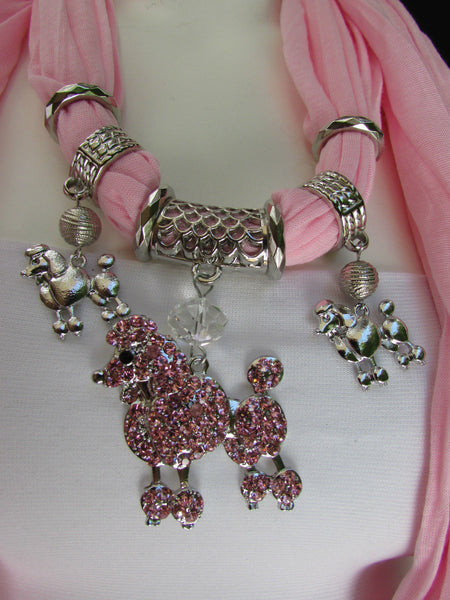 Blue, Black, L. Pink, Pink Fuscia Soft Fabric Scarf Silver Metal Poodle Dog Pendant New Women Fashion - alwaystyle4you - 39