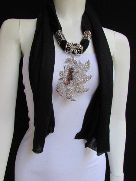 Pink Blue Black Brown Bright Coral Soft Fabric Scarf Long Necklace Big Silver Butterfly Pendant New Women Fashion - alwaystyle4you - 34