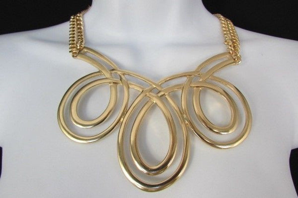 Gold / Silver Twisted 3 Drops Chain Necklace + Earring Set New Women Chunky Fashion - alwaystyle4you - 33