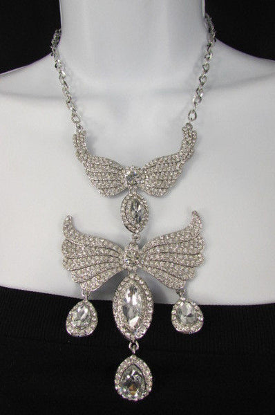 Metal Flying Wings Gold Silver Rhinestones Necklace + Earrings set New Women Fashion - alwaystyle4you - 38