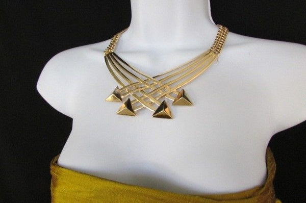"Gold Silver New Women 14"" Strands Metal Chains Fashion Necklace Arrows + Earring Set - alwaystyle4you - 38"