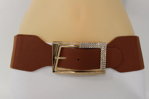 Black / Red / White / Brown Faux Leather Tie Hip Waist Belt Square Gold Rhinestones Buckle New Women Fashion Accessories M L - alwaystyle4you - 32