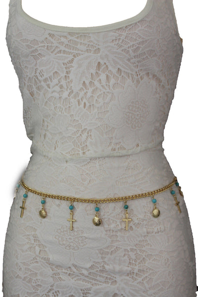Gold / Silver Metal Chain Hip High Waist Belt Turquoise Blue Cross New Women Fashion S M L - alwaystyle4you - 1