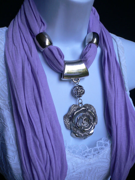Gray / Red / L. Purple / L. Blue New Women Necklace Scarf Moroccan Fashion Soft Fabric Long Silver Flower Pendant Charm - alwaystyle4you - 34