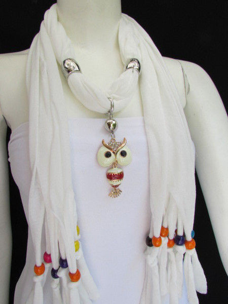 Black, Blue, Beige, Gray, White Soft Scarf Long Necklace Multicolors Wood Beads Owl Pendant New Women Fashion Accessory - alwaystyle4you - 34