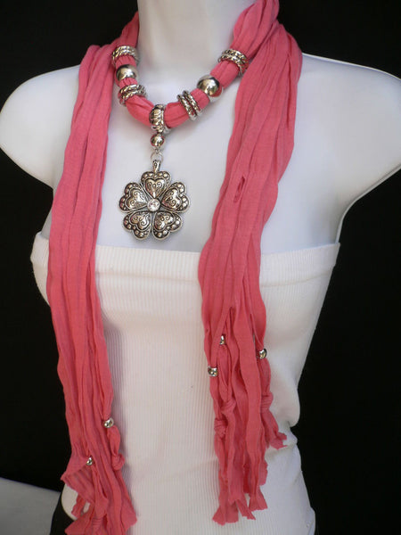 Blue Light Blue Black Dark Brown Light Pink Coral White Soft Scarf Necklace Heart Flower Silver Pendant New Women Fashion 6 Different Colors - alwaystyle4you - 46