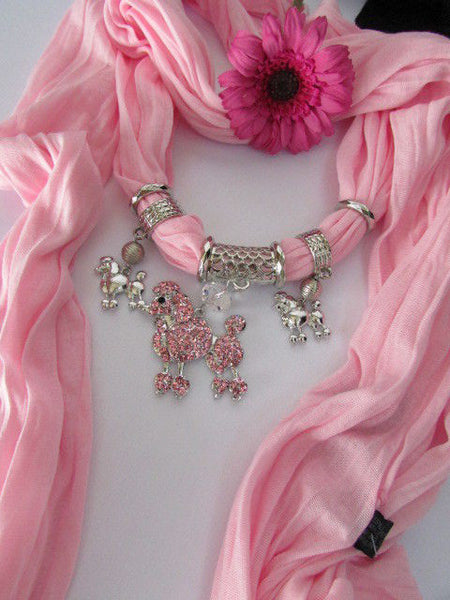 Blue, Black, L. Pink, Pink Fuscia Soft Fabric Scarf Silver Metal Poodle Dog Pendant New Women Fashion - alwaystyle4you - 40
