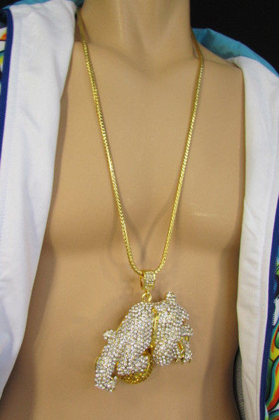 Gold / Silver Metal Chains Long Necklace Large Bulldog Ball New Men Style Fashion - alwaystyle4you - 40