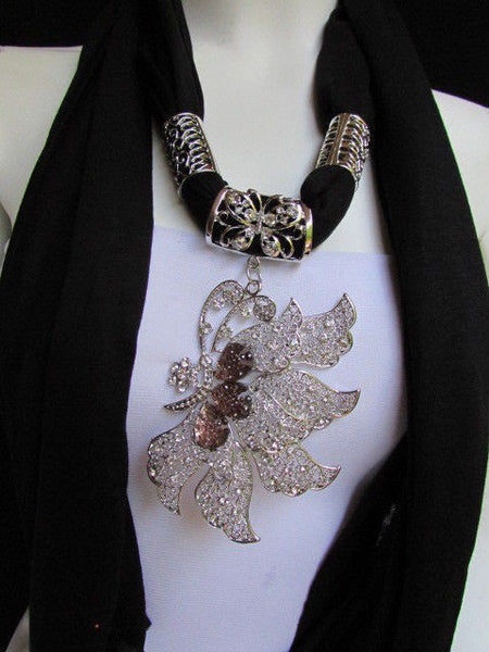 Pink Blue Black Brown Bright Coral Soft Fabric Scarf Long Necklace Big Silver Butterfly Pendant New Women Fashion - alwaystyle4you - 35