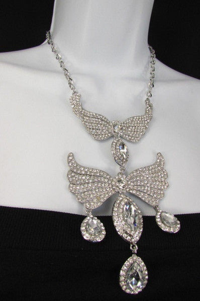 Metal Flying Wings Gold Silver Rhinestones Necklace + Earrings set New Women Fashion - alwaystyle4you - 39
