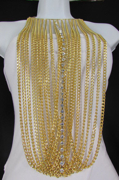 Gold Metal Choker Extra Long Chains Statement Necklace Hot Rhinestones New Women Fashion - alwaystyle4you - 9