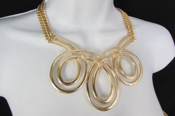 Gold / Silver Twisted 3 Drops Chain Necklace + Earring Set New Women Chunky Fashion - alwaystyle4you - 35