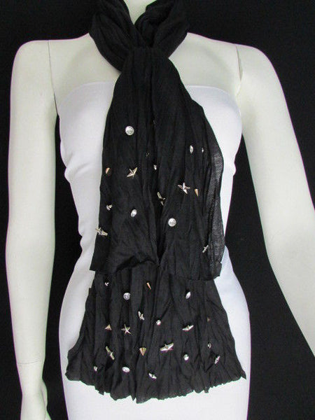 New Women Soft Fabric Fashion White / Blue /  Gray / Black Scarf Long Necklace Silver Metal Stars Studs - alwaystyle4you - 47
