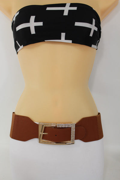 Black / Red / White / Brown Faux Leather Tie Hip Waist Belt Square Gold Rhinestones Buckle New Women Fashion Accessories M L - alwaystyle4you - 34