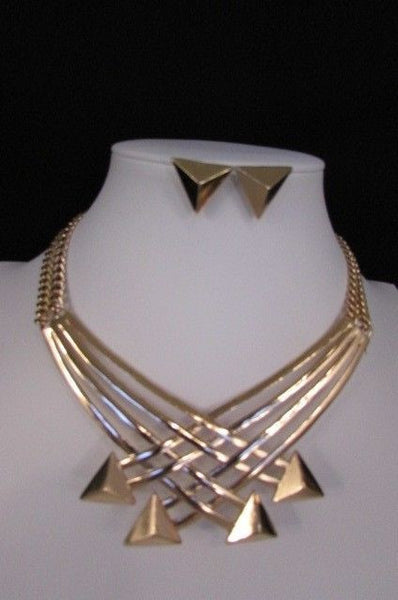 "Gold Silver New Women 14"" Strands Metal Chains Fashion Necklace Arrows + Earring Set - alwaystyle4you - 40"