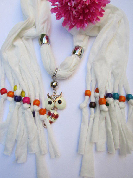 Black, Blue, Beige, Gray, White Soft Scarf Long Necklace Multicolors Wood Beads Owl Pendant New Women Fashion Accessory - alwaystyle4you - 35