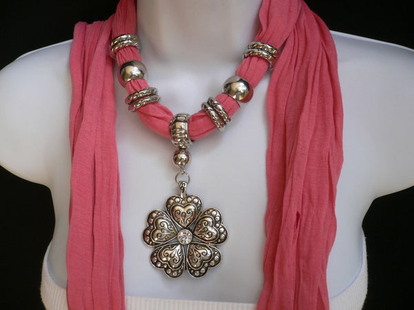 Blue Light Blue Black Dark Brown Light Pink Coral White Soft Scarf Necklace Heart Flower Silver Pendant New Women Fashion 6 Different Colors - alwaystyle4you - 47