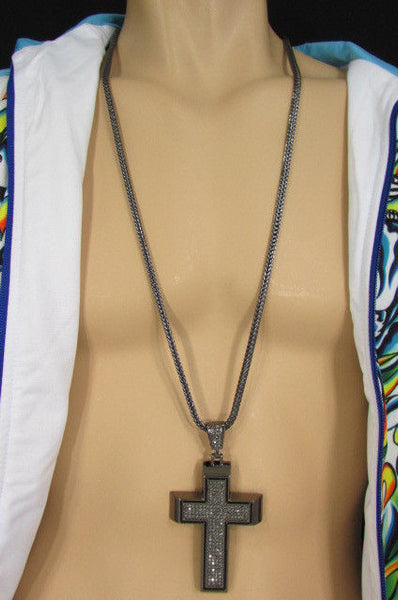 Pewter / Silver Metal Chains Long Necklace Boarded Cross Pendant New Men Hip Hop Fashion - alwaystyle4you - 40