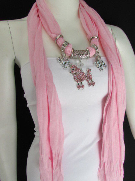 Blue, Black, L. Pink, Pink Fuscia Soft Fabric Scarf Silver Metal Poodle Dog Pendant New Women Fashion - alwaystyle4you - 41