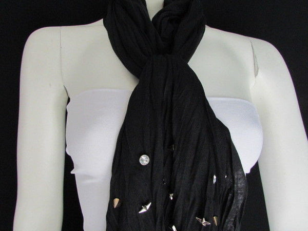New Women Soft Fabric Fashion White / Blue /  Gray / Black Scarf Long Necklace Silver Metal Stars Studs - alwaystyle4you - 48