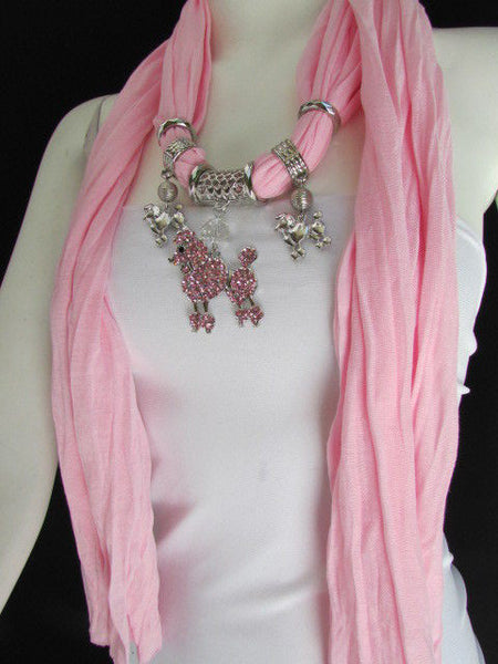 Blue, Black, L. Pink, Pink Fuscia Soft Fabric Scarf Silver Metal Poodle Dog Pendant New Women Fashion - alwaystyle4you - 42
