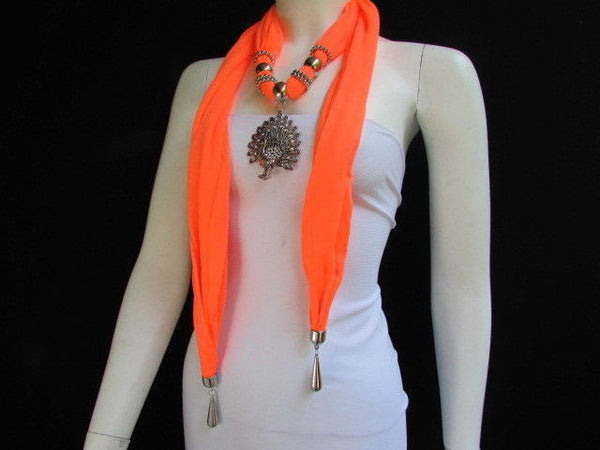 New Women Necklace Fashion Mocha Brown / Blue / Orange / Red / Green / Black Fabric Scarf Long Big Silver Peacock Pendant - alwaystyle4you - 40