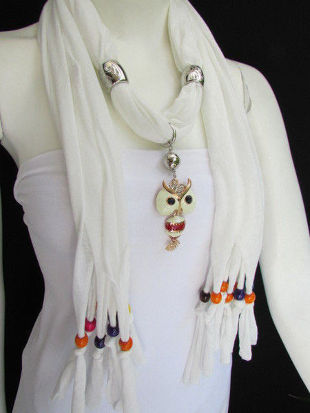 Black, Blue, Beige, Gray, White Soft Scarf Long Necklace Multicolors Wood Beads Owl Pendant New Women Fashion Accessory - alwaystyle4you - 36