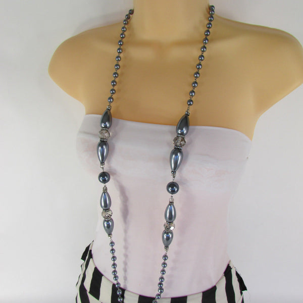 Long Imitations Pearls Necklace Small Gray Beads Beige Silver Color + Earrings Set New Women Fashion - alwaystyle4you - 36