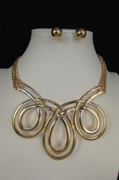 Gold / Silver Twisted 3 Drops Chain Necklace + Earring Set New Women Chunky Fashion - alwaystyle4you - 36