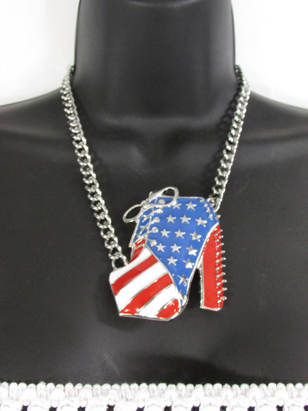 Large Metal High Heels Shoes Pendant Fashion Chains Gold / Silver Rhinestones American Flag USA Stars Necklace + Earrings Set - alwaystyle4you - 6