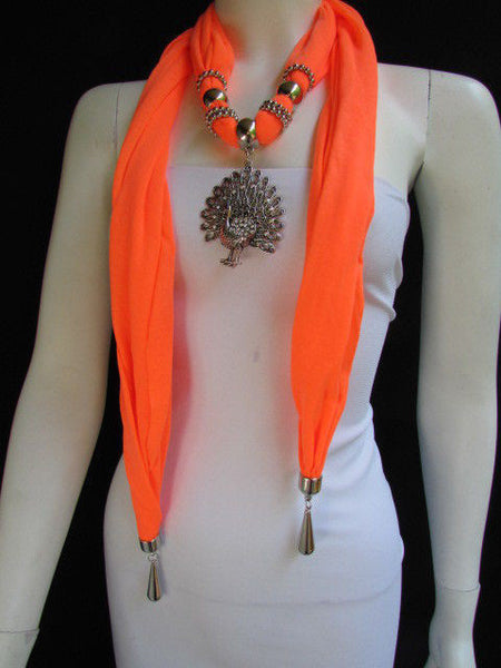 New Women Necklace Fashion Mocha Brown / Blue / Orange / Red / Green / Black Fabric Scarf Long Big Silver Peacock Pendant - alwaystyle4you - 41