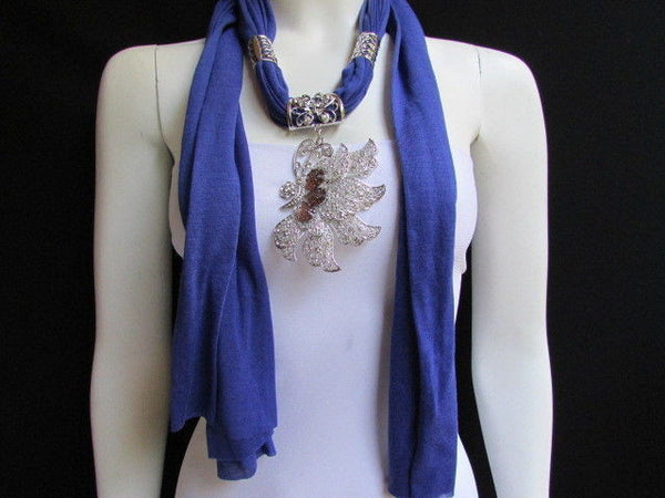 Pink Blue Black Brown Bright Coral Soft Fabric Scarf Long Necklace Big Silver Butterfly Pendant New Women Fashion - alwaystyle4you - 38