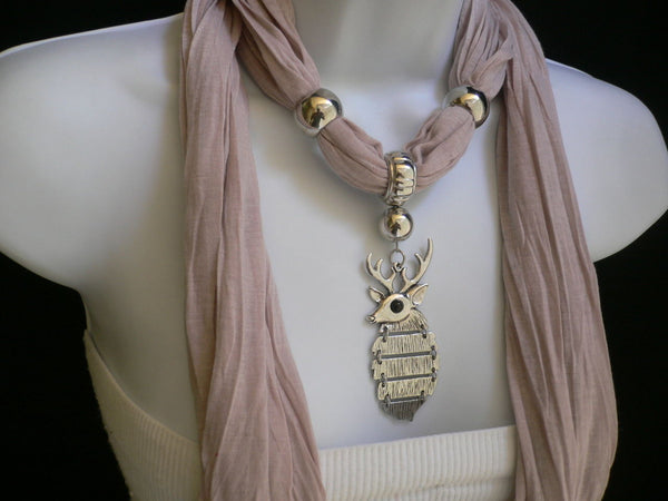 Green  / Red / White / Blue / Beige / Pink / Mustard Long Soft Scarf Necklace Silver Metal Deer Head Pendant For Christmas New Women Fashion - alwaystyle4you - 70