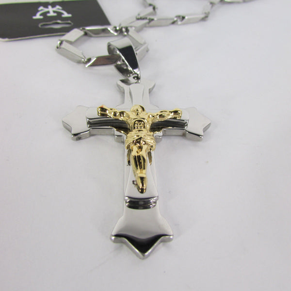 Silver Stainless Steel Metal Chain Links Necklace 3D Gold / Silver Cross Pendant New Men Classic Fashion - alwaystyle4you - 37