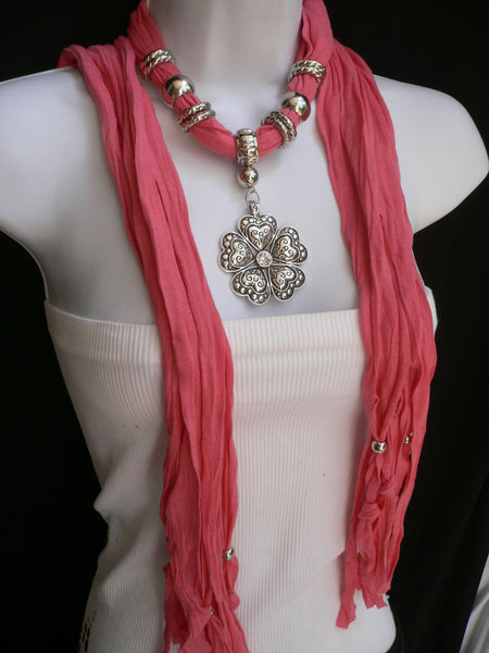 Blue Light Blue Black Dark Brown Light Pink Coral White Soft Scarf Necklace Heart Flower Silver Pendant New Women Fashion 6 Different Colors - alwaystyle4you - 49