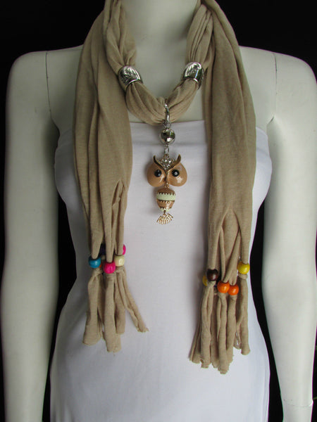 Black, Blue, Beige, Gray, White Soft Scarf Long Necklace Multicolors Wood Beads Owl Pendant New Women Fashion Accessory - alwaystyle4you - 37