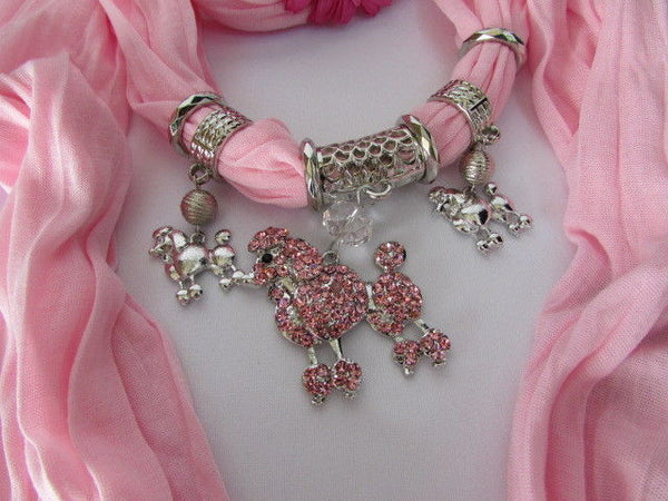 Blue, Black, L. Pink, Pink Fuscia Soft Fabric Scarf Silver Metal Poodle Dog Pendant New Women Fashion - alwaystyle4you - 43