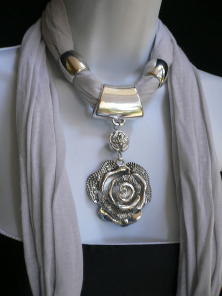 Gray / Red / L. Purple / L. Blue New Women Necklace Scarf Moroccan Fashion Soft Fabric Long Silver Flower Pendant Charm - alwaystyle4you - 37