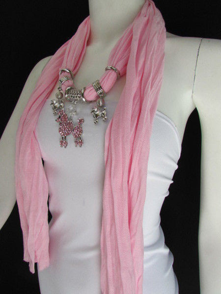Blue, Black, L. Pink, Pink Fuscia Soft Fabric Scarf Silver Metal Poodle Dog Pendant New Women Fashion - alwaystyle4you - 44