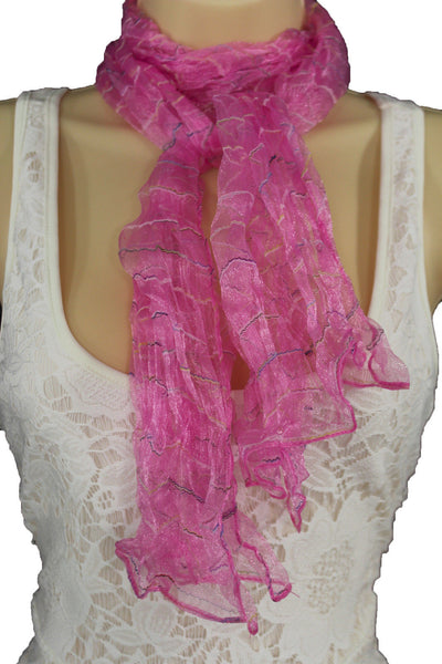 New Women Sheer Scarf Fashion Neck Wrap Long White Black Pink Blue Green Yellow - alwaystyle4you - 39