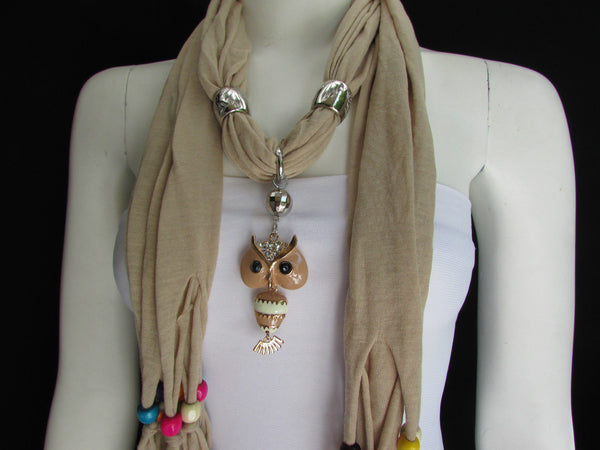 Black, Blue, Beige, Gray, White Soft Scarf Long Necklace Multicolors Wood Beads Owl Pendant New Women Fashion Accessory - alwaystyle4you - 38