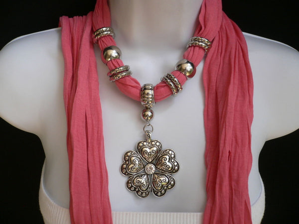 Blue Light Blue Black Dark Brown Light Pink Coral White Soft Scarf Necklace Heart Flower Silver Pendant New Women Fashion 6 Different Colors - alwaystyle4you - 50