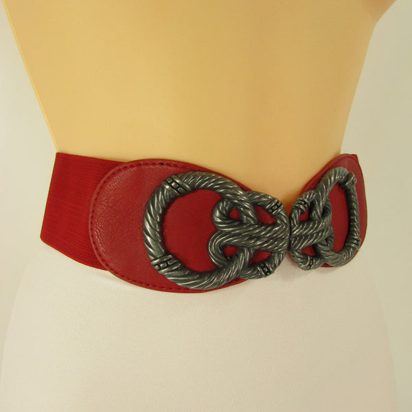 Blue / Red / Black Faux Leather Elastic High Waist Hip Belt Silver Metal Chain Buckle New Women Fashion Accessories S M - alwaystyle4you - 38