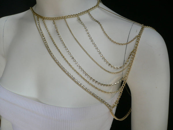 New Women Casual Gold Metal Long Chain One Side Shoulders Body Chain Necklace Fashion Jewelry Clear Rhinestones - alwaystyle4you - 6