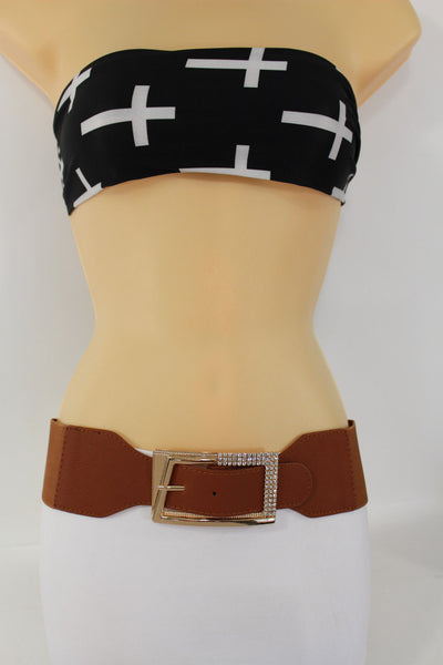 Black / Red / White / Brown Faux Leather Tie Hip Waist Belt Square Gold Rhinestones Buckle New Women Fashion Accessories M L - alwaystyle4you - 37